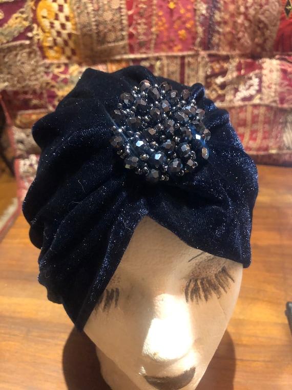 Vintage Blue stretch velvet Deco Turban Hat