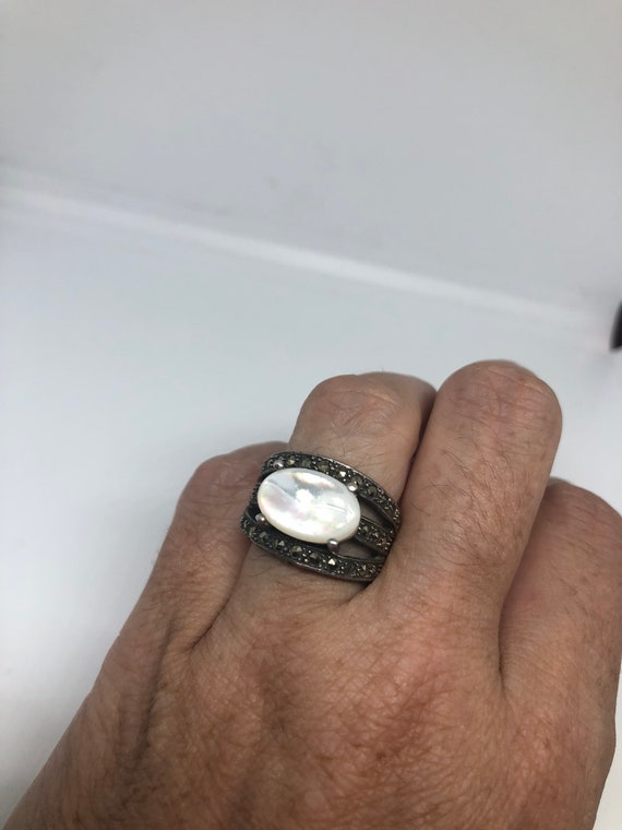 Vintage Mother of Pearl 925 Sterling Silver Marcas