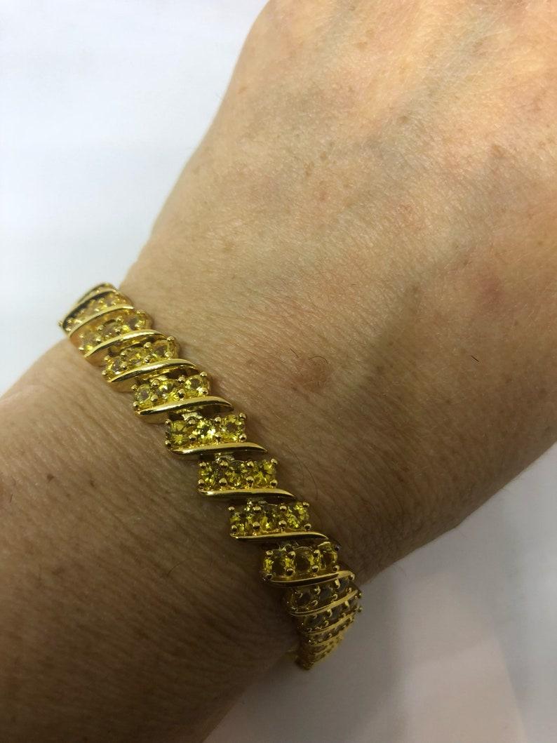 Vintage Handmade mosaic of Lemon Quartz Gold Rhodium Finished Sterling Silver Statement Bracelet