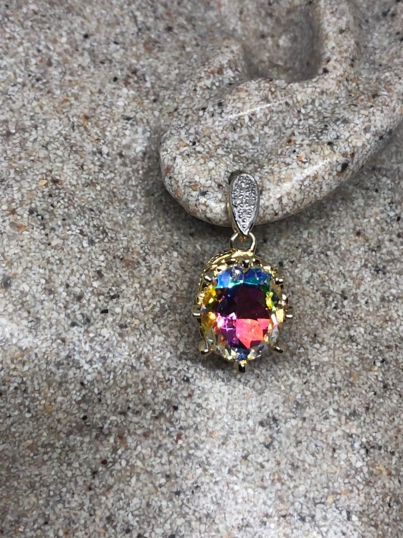Nemesis Vintage Handmade Golden Sterling Silver Opal White Mystic Topaz earrings