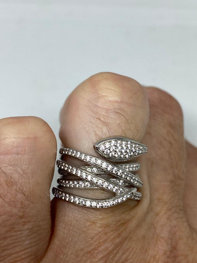Vintage Snake Ring 925 Sterling Silver Crystal Size 6