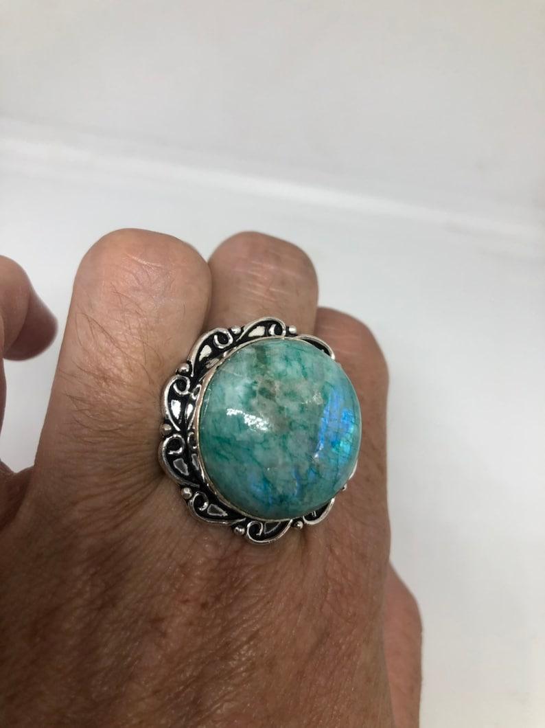 Vintage Genuine Green dyed Rainbow Moonstone ring