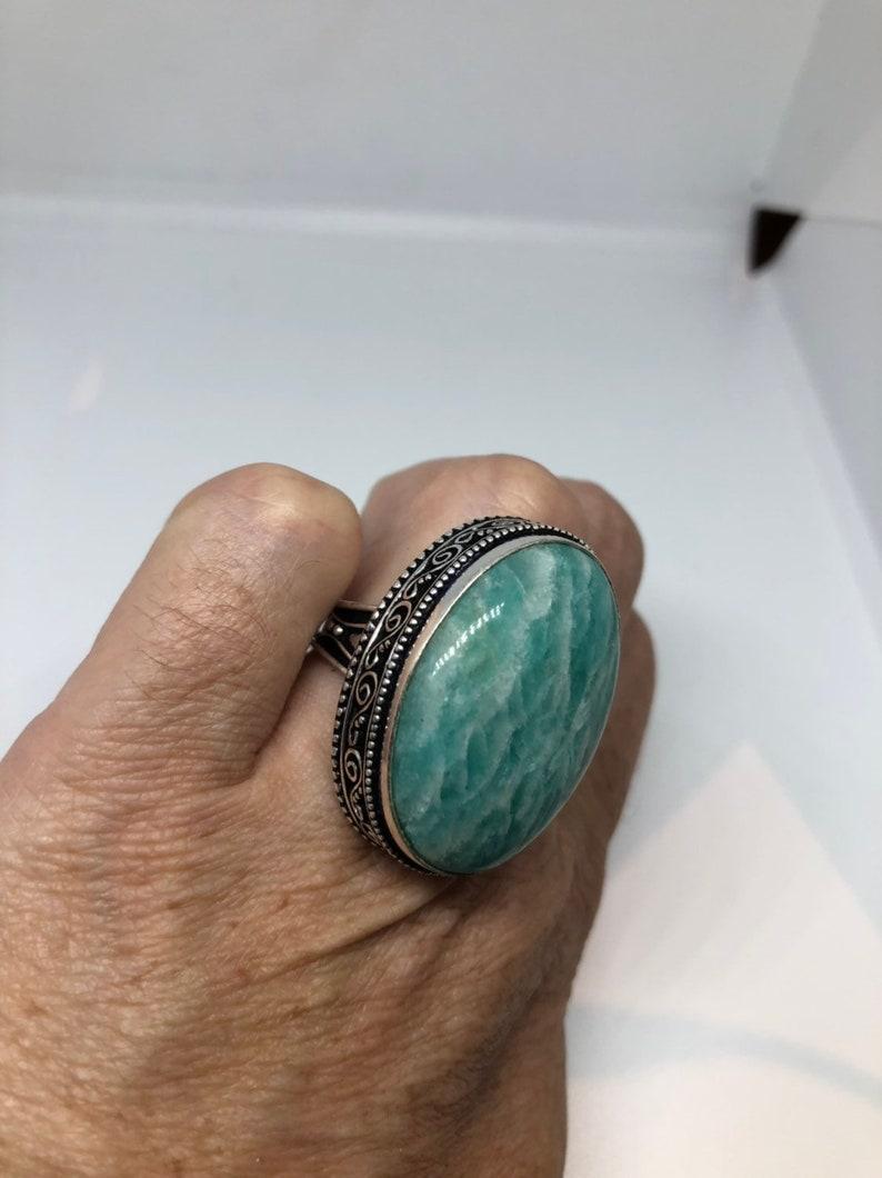 Vintage geniune blue Amazonite Silver Ring