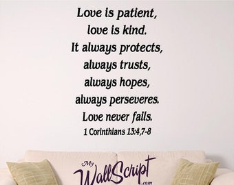 Love Is.. Wall Art, Wall Graphic for Home, bedroom or church. 1 Corinthians 13: 4