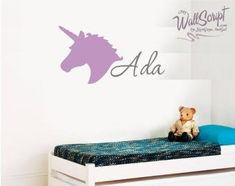 Unicorn custom Name wall decal, Purple Girl Nursery Wall Decal, Girls Room Wall Decal