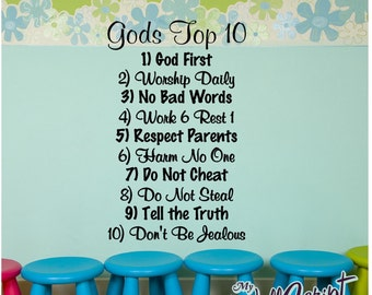 Wall decal for child room, sunday school room decal, Gods Top 10, Ten Commandments for Kids