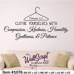 Scripture Wall Decal, Laundry Room Decal, Girl Wall Decal, Clothe your selve with, Colossians 3:12, young woman decal, wall art