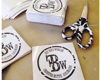 150 custom printed stickers, product labels, logo decals, shaped stickers, vinyl decals, bumper stckers