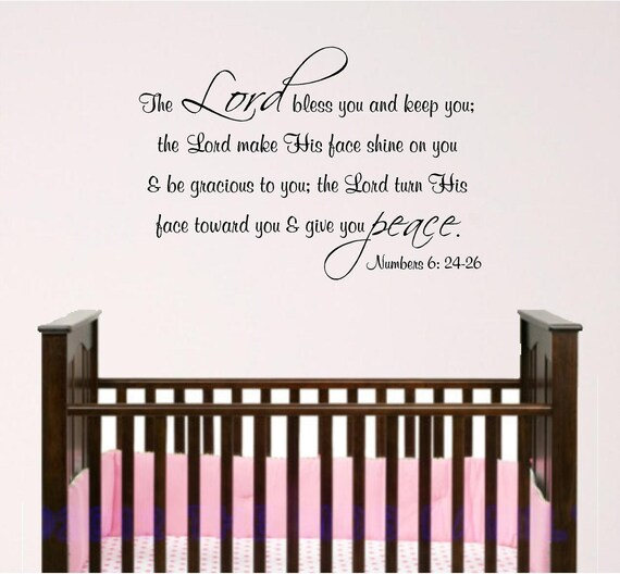 nursery bible verse wall art lord bless you baby room decal etsy