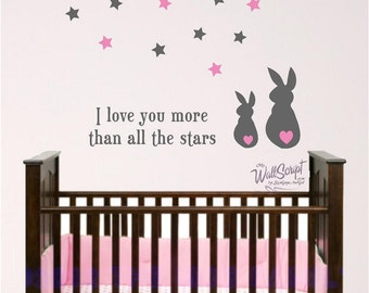 Bunny and Star wall decal, I Love you more than the stars