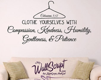 Girl Wall Decal, Clothe your selve with, Colossians 3:12 scripture wall decal, young woman decal, wall art