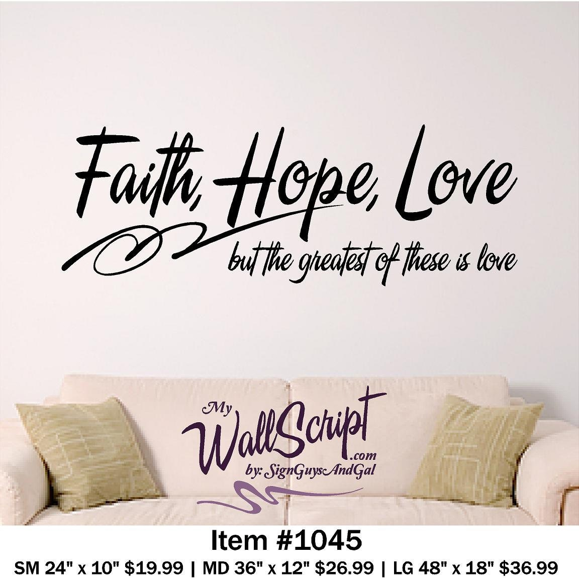 Bible Verse Wall Art Faith Hope Love Wall Decal | Etsy