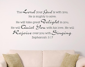 Bible Verse Wall Decal, Zephaniah 3:17 -Mighty To Save- Wall Graphic, Nursery Wall Decal