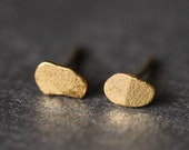 Forged gold stud earrings by Tamara Gomez Hand made in London UK
