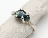 SALE - Claw set rough sapphire ring in sterling silver by Tamara Gomez