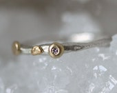 White diamond ring silver and gold by Tamara Gomez. Hand made in London UK