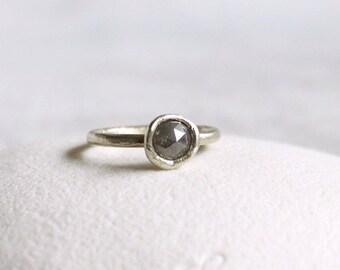 Rose cut diamond ring, White gold rose cut diamond ring, Alternative diamond Engagement Ring, Rustic Wedding Solitaire Ring, rustic ring