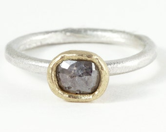 Rose cut diamond and silver and gold ring, rose cut diamond engagement ring, grey diamond ring, gray diamond ring, mixed metal ring