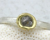 Rough Diamond Ring in silver and gold by Tamara Gomez Hand made in London UK Conflict free diamonds Custom made bespoke ring