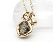 Rough diamond pendant necklace yellow gold by Tamara Gomez