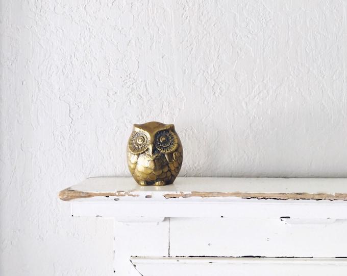 Vintage Brass Owl Bank // Solid Brass