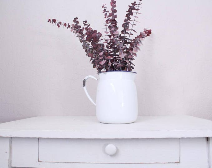 Vintage Enamel Pitcher // Farmhouse Collectible