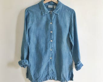 Indigo Dyed Vintage Chico's Long Sleeve Linen Button Down // Size M/L // Zero Waste // Secondhand