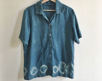 Indigo Shibori Dyed Japanese Inspired Vintage Lord & Taylor Short Sleeve Collared Button Down Top Size L