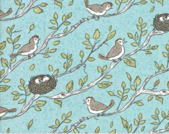 Nest, Robin's Egg Birdsong by Lella Boutique of Moda Fabric, 5061 15, New Collection, Sold by 1/2 Yard
