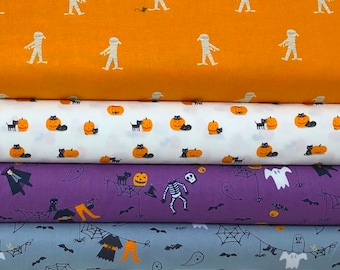 Ghouls & Goodies Fabric Bundle of 5 Halloween Fabrics by Stacy Iest Hsu of Moda Fabrics, In Select A Size