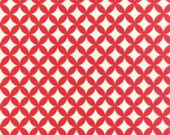 Bonnie and Camille Hello Darling Red, 55111 41, Moda Fabric, Sold In Half Yard Amounts