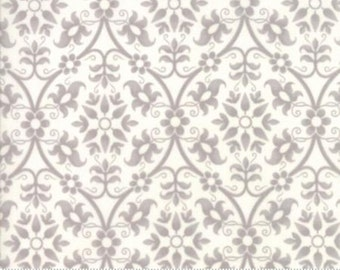 Poetry Prints Stone on Porcelain Damask, 44133 11 by 3 Sisters of Moda Fabrics, LAST 1 YARD AMOUNT