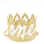 Cursive ONE First Birthday Gold Lace Crown headband || WASHABLE ||Sienna || photography prop || Birthday Hat, Birthday Crown