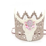 NEW jeweled boho skull MINI Sienna crown headband || Wild One || Wild and Three || cake topper or shelf decor