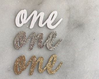 """ADD glitter cursive """"one"""" or """"uno"""" 