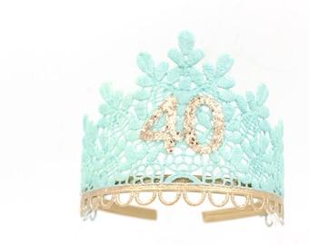 Birthday Sage lace TIARA ||  aqua + rose gold || 21st 30th 40th 50th || adult cake smash tiara || Love Crush Exclusive || Ready to Ship