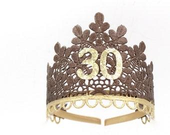 Birthday Sage lace TIARA ||  bronze + gold || 21st 30th 40th 50th || adult cake smash tiara || Love Crush Exclusive || Ready to Ship