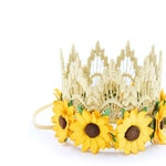 NEW || MINI gold Sienna with sunflowers || lace crown headband || photography prop