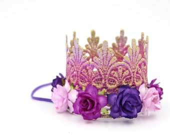 Princess Inspired Lace Crown    Tallulah    lavender orchid purple ombré with multi purple flowers lace MINI crown headband