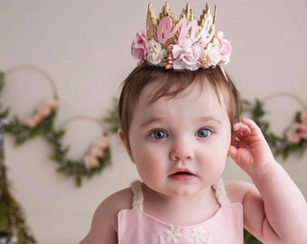 first birthday Boho Bloom MINI Sienna flower lace crown with pastel  pink, peach, + ivory flowers    READY to SHIP