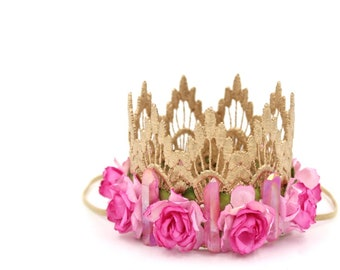 NEW boho quartz dreams || crystal + flowers rose gold lace crown headband || bohemian festival crown  || geode theme || photography prop
