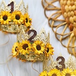 NEW || Birthday MINI gold Sienna with sunflowers || lace crown headband || ANY age || photography prop