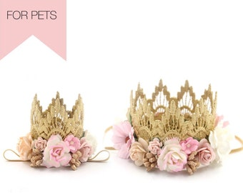 NEW || ultra MINI or standard MINI Sienna lace flower crown boho bloom || for dogs + pets || Choose One