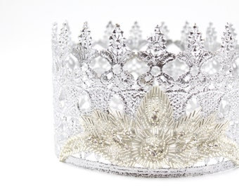 Glinda || the Good witch || Wizard of Oz || Savannah || FULL SIZE silver lace crown with pearl + crystal embellishments || Child-Adult