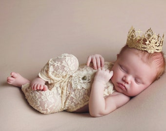 Ready to Ship || Chantilly || mini vintage lace crown headband|| gold, silver, rose gold  || newborn - toddler ||cake topper || WASHABLE