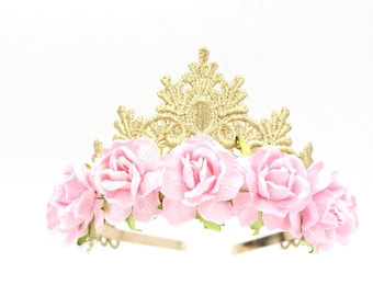 Tallulah gold lace TIARA with large pink roses || Flower girl or Bridesmaid crown