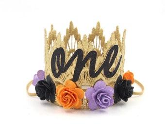 New    Halloween first birthday MINI Sienna lace flower crown cursive ONE    orange + purple black    custom ANY age