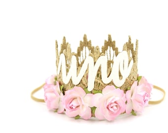 First Birthday crown cursive UNO || mini Sienna gold || baby pink flowers lace crown headband ||photography prop