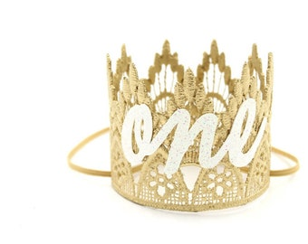 MINI First Birthday Gold cursive ONE Lace Crown headband    Sienna    photography prop    Birthday Hat, Birthday Crown