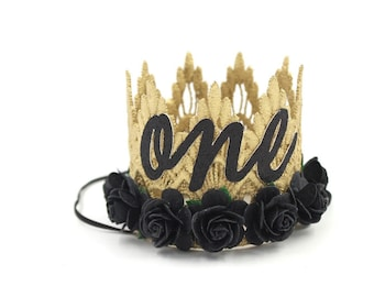 NEW first birthday MINI Sienna flower lace crown    gold + black    customize in ANY age